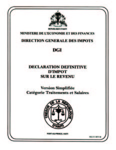 DECLARATION DEFINITIVE D'IMPOT SUR LE REVENU (Version Simplifiee Categorie Traitement et Salaires)